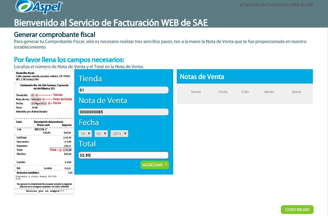 Notas de venta y facturación web